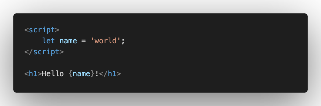 Svelte hello world code snippet.